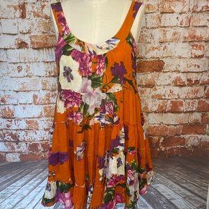 Antica Sartoria orange floral tiered babydoll dres